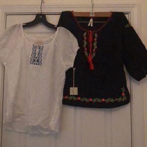 Bundle of 2 embellished blouses size small